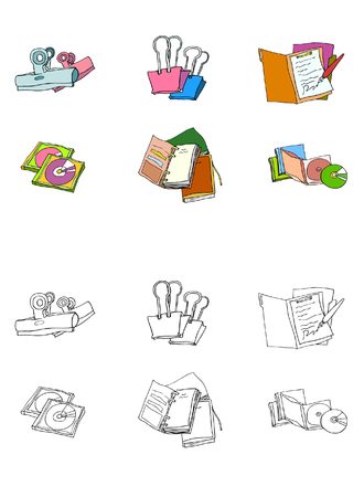 open notebook: Variation of colorful objects displayed in a row against white background