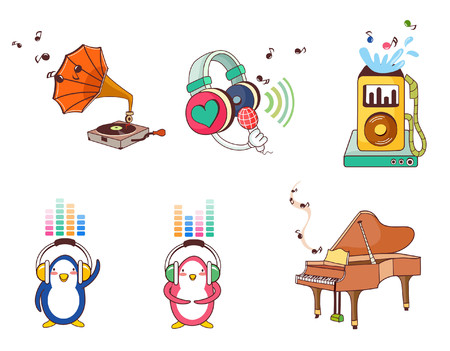 Variation of colorful objects displayed in a row against white background