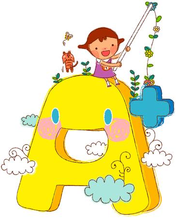 Girl fishing while sitting over alphabet A Ilustração