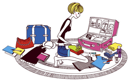 suitcase packing: Young woman packing suitcase, side view Illustration