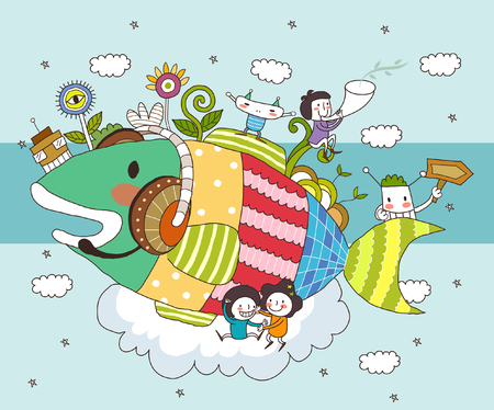 Children playing with fish Illustration