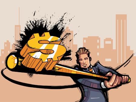 Businessman hitting dollar-sign Illustration