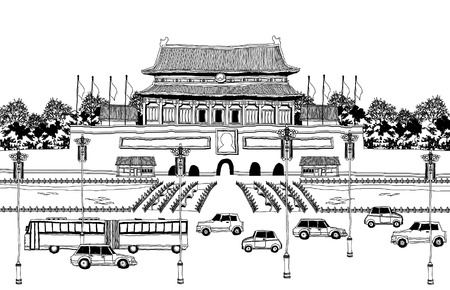 mode of transport: Vehicles on road by pagoda