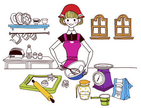 Woman holding wire whisk in kitchen