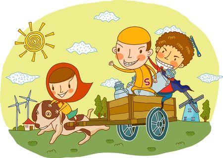 female likeness: Friends sitting on dog cart