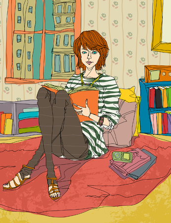 Portrait of young woman reading book Illustration