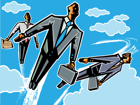 Floating business people in the sky Illustration