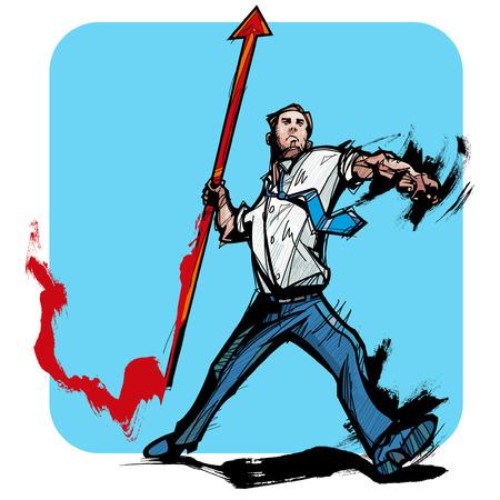 javelin: Businessmen throwing the javelin