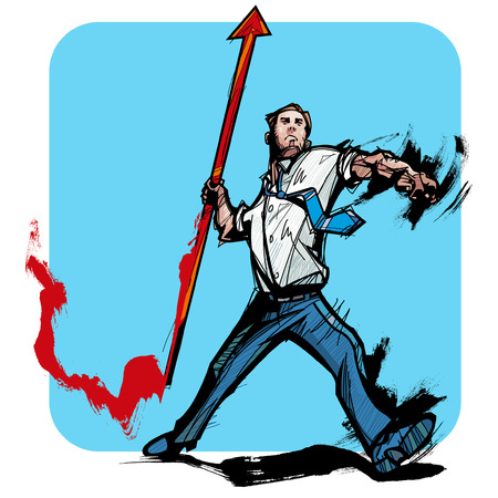 Businessmen throwing the javelin