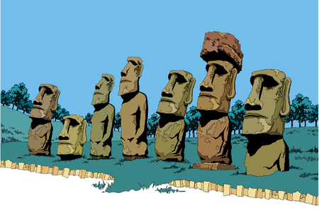 Side view of Stone statues