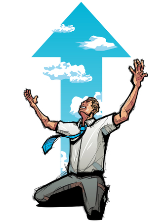 Businessman kneeling, arrow sign in the background Illustration