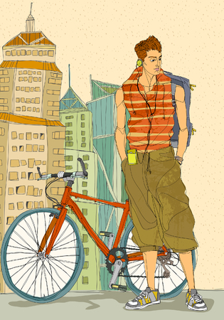 causal: Young man standing by bicycle