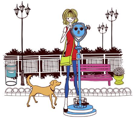 anthropomorphic: Woman looking through coin-operated binoculars