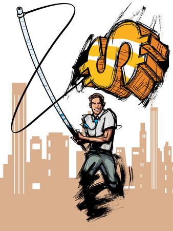 Businessman holding dollar symbol with fishing rod Illustration