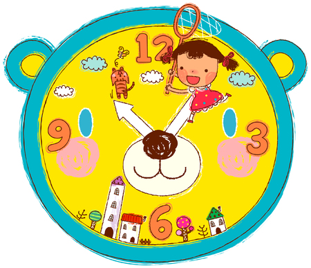 puntualidad: Girl with fishing net on clock dial