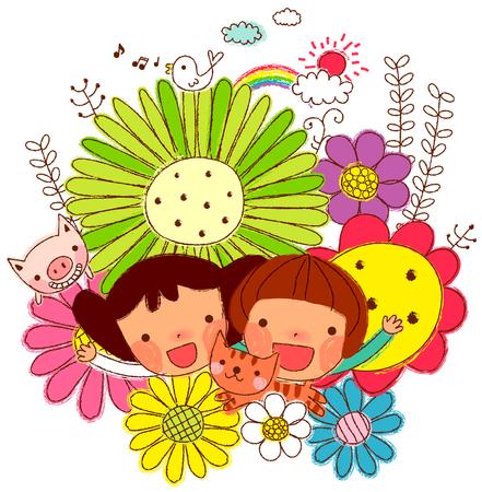 いろいろな花の中で友人