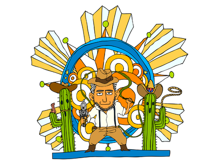 plant stand: Man holding whip and gun Illustration