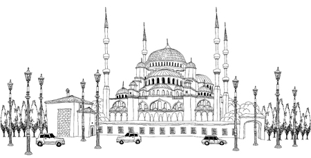 move in: Traffic by mosque Illustration
