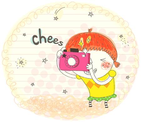 Girl holding camera, clicking Illustration