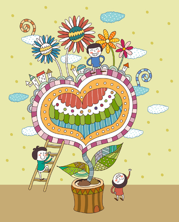 Children playing by potted plant Ilustrace