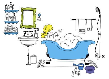 Young woman bathing in bathtub Illustration