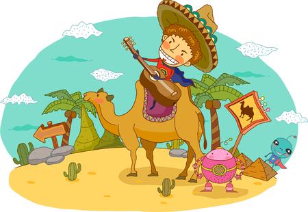 Man playing guitar while sitting on camel in desert Illustration