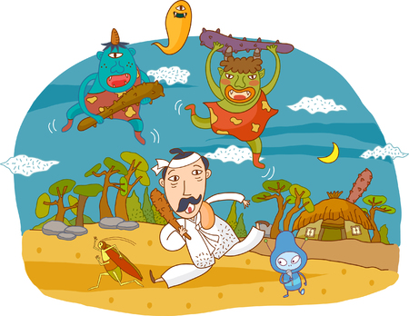 Illustration depicting monsters with man and insects