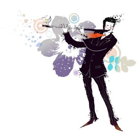 Musician playing flute Illustration