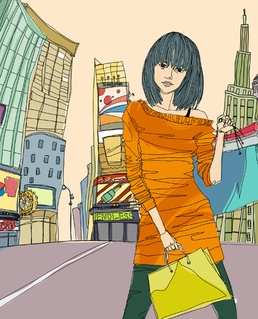 Portrait of young woman standing on road, holding shopping bag Illustration
