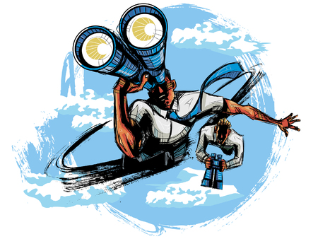 looking through an object: Elevated view of business people looking through binoculars Illustration