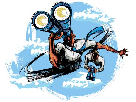 man flying: Elevated view of business people looking through binoculars Illustration