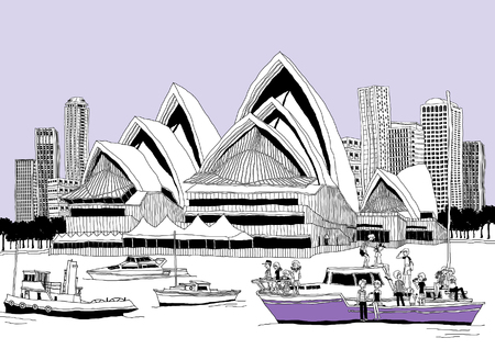 Tourists traveling in boats by opera house in Sydney