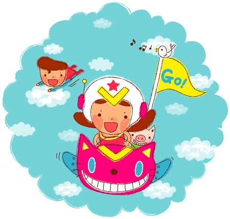 Girl riding airplane while superhero flying in sky