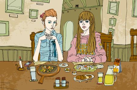 Portrait of young women having breakfast