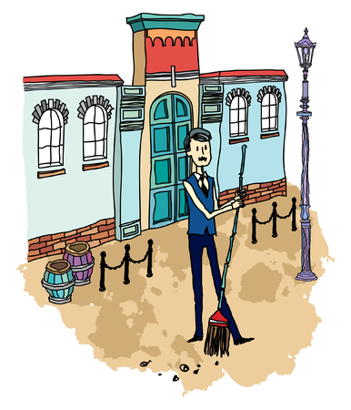 sweeping: Street cleaner sweeping road Illustration