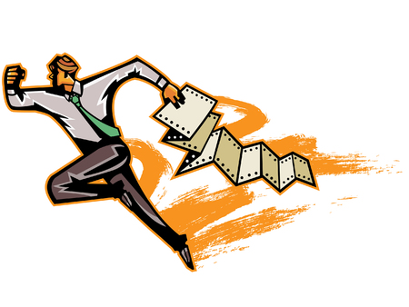 Businessman running with computer papers Illustration