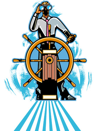 looking through an object: Businessman at helm with binocular
