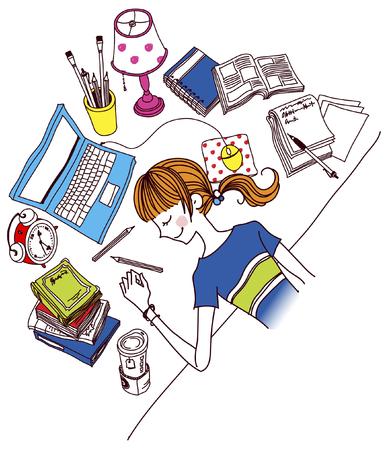 Woman sleeping on desk in office