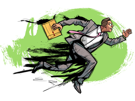 Side view of businessman running with envelope