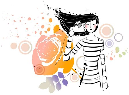 tin: Woman holding tin can phone Illustration