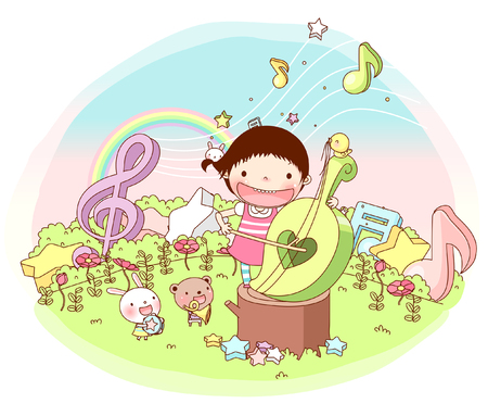 Girl playing music Illustration