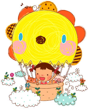 Girl with pets sitting in hot air balloon Illustration