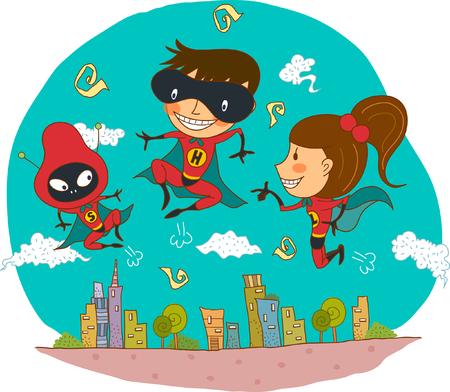 Superhero flying over buildings Illustration