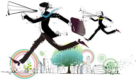 Businessmen holding megaphone, running, side view Illustration