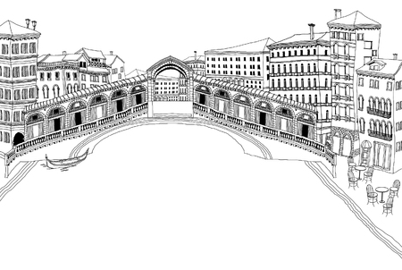 Bridge over lake, buildings in background Illustration