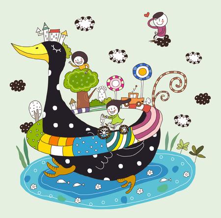 Side view of children enjoying, traveling on duck Illustration