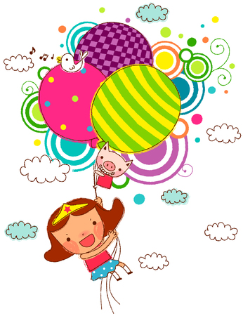 Girl holding helium balloons, flying