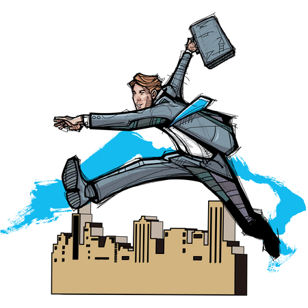 Side view of businessman running with briefcase Illustration