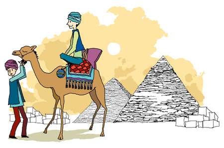Side view of man riding on camel