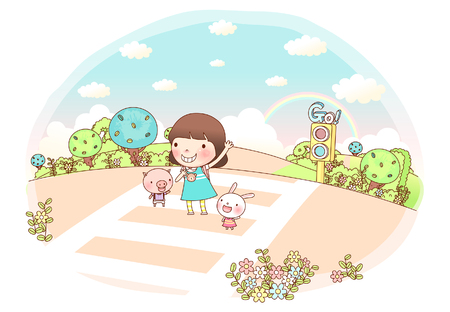 Girl with rabbit and pig standing on road, waving Illustration
